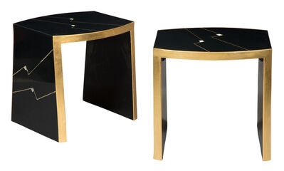 Ron Seff, 'Pair of Gilt and Mother-of-Pearl Inlaid Black Lacquer Ritz Side Tables', 1980s
