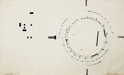 Barry Le Va, 'Centerpoints and Lengths (Blocks Through Points of Tangency) Five Circular Areas Tangent to and Inscribed Within Each Other. 8 Unequal Lengths Cut on a Circular Plan (walked end-over-end in their own paths, ends touch; ends cut)', 1974
