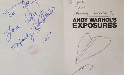 """Andy Warhol, '""""Exposures"""" signed twice by Warhol with drawings. Also signed by Joe Dallesandro and Holly Woodlawn also with a lipstick kiss.""""', 1979"""