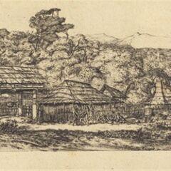 Charles Meryon, 'Greniers indigènes et habitations à Akaroa, presqu'Ile de Banks, 1845 (Native Barns and Huts at Akaroa, Banks' Peninsula, 1845)', 1865