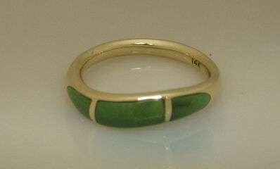 Katherine Marie Spahr, '14k Gold and inlaid Colorado Green Turquoise ', 2000-2019