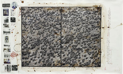 "Peter Beard, '756 elephants in a ""misery likes company"" formation / destroyed social units from starvation / exceeding carrying capacity / over-population / + mismanagement / TSAVO / @ the Mkomazi border / for The End of the Game / last word from Paradise', 1976"