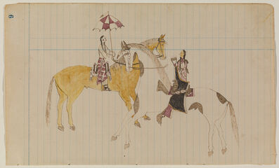 Unknown Cheyenne Artist, 'Ledger Drawing, Courting Scene', ca. 1870