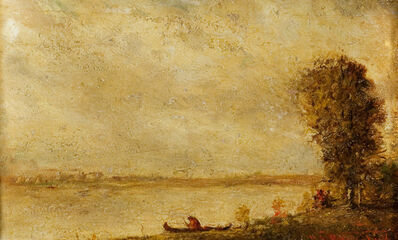 Ralph Albert Blakelock, 'Indian with a Canoe', Late 19th century