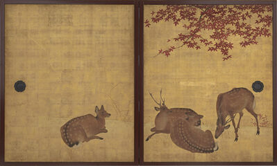 Mori Tetsuzan, 'Deer and Maples, Cranes and Pine Sapling. Japan, Edo period (1615–1868)', 18th-19th century