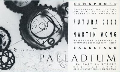 Futura, 'Semaphore / Palladium, Futura 2000 & Martin Wong, Card', 1986