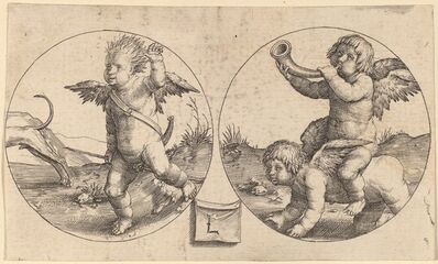 Lucas van Leyden, 'Two Cupids in Two Circles', ca. 1517