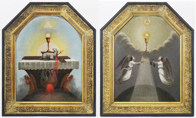 Anonymous, 'Ancient Masonic, Rosicrucian, Religious pair of paintings', 18th century