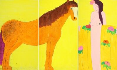 Walasse Ting 丁雄泉, 'Golden Horse with Girl in Golden Robe', 1980s