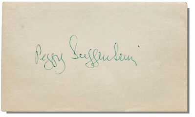 Max Ernst, 'PEGGY GUGGENHEIM, 1970's, Signed, 3x5 in. Index Card, PSA/DNA Certified.', 1970's