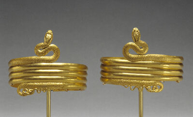 'Pair of upper arm bracelets in the form of a coiled snake', 220 -100 BCE