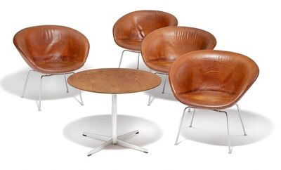 "Arne Jacobsen, 'Set of four ""The Pot"" armchairs with a matching coffee table, steel frames. Circular teak top. Sides, seat and back upholstered with original, patinated cognac coloured leather.'"