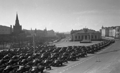 Yakov Khalip, 'Troops and equipment are manufactured for the Victory Day parade. Manege Square', 1945