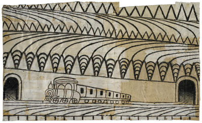 Martín Ramírez, 'Untitled (Triangle Landscape with Train)', ca. 1960