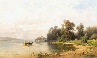 Josef Willroider, 'View to Maria Wörth at lake Wörther See', ca. 1880