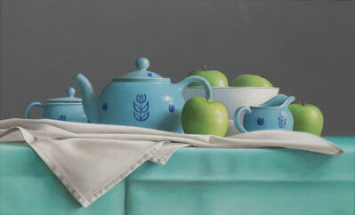 Janet Rickus, 'Blue Tea Set and Green Apples', 2004