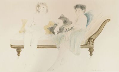 David Remfry, 'Two women seated on a chaise longue'
