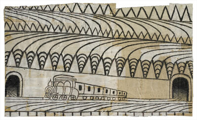 Martín Ramírez, 'Untitled (Triangle Landscape with Train)', ca. 1963