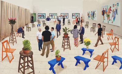 David Hockney, '4 blue stools', 2014