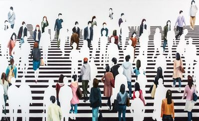 "Martta García Ramo, '""El Centro de Atención"" oil painting of pedestrians on black and white crosswalk', 2019"