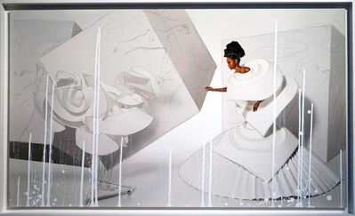 """Efren Isaza, '""""Black Girl in Origami Dress with Rooster II"""", intervened on canvas', 2010"""