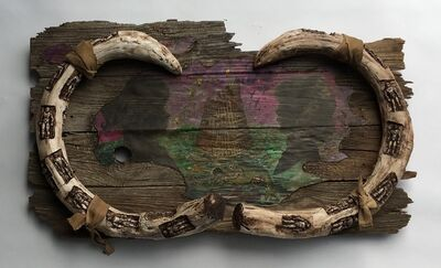 Joshua Goode, 'Painting & Sculpture on old barn wood: 'Mammoth Tusk Portrait'', 2019