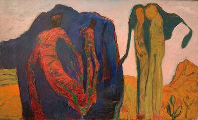 Guy Warren, 'Figures with blue hill', 2015