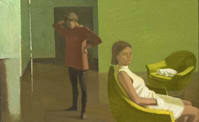 Lisa Hesselgrave, 'Two Figures and Friskie', 1991