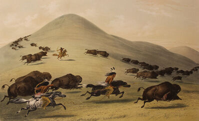 George Catlin, 'Buffalo Hunt Chase', 1844