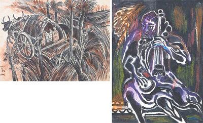 Nandalal Bose, 'Ox and Card / Musician'