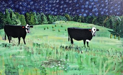 John Borden Evans, 'Two Cows and Chopped Thistle at Night', 2018