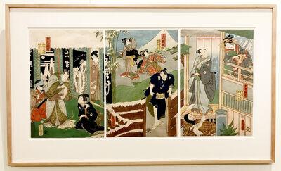 Utagawa Toyokuni III (Utagawa Kunisada), 'Twelve Continuous Acts of  the Storehouse of Loyal Retainers, Acts 7, 8, & 9', 1860