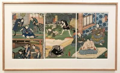 Utagawa Toyokuni III (Utagawa Kunisada), 'Twelve Continuous Acts of  the Storehouse of Loyal Retainers, Acts 4, 5, and 6', 1860