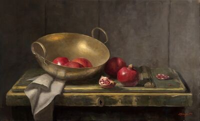 Sarah Lamb, 'Pomegranates with Brass Bowl', 2018