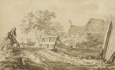 Jacob Cats, 'A man with a dog on a bridge, a horse and cart, and a cottage beyond'