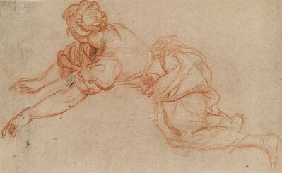 Charles de La Fosse, 'Young Woman Kneeling and Reaching Forward [verso]', ca. 1698