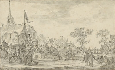 Jan van Goyen, 'A Village Festival with Musicians Playing Outside a Tent', 1653
