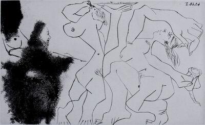 Pablo Picasso, 'Old Rembrandtesque Painter, Painting Bacchantes, from: Suite 347 | Vieux peintre Rembranesque peignant des bacchantes: La Suite 347', 1968