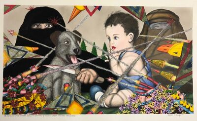 Michael Dwyer, 'The Martyrdom of the Crusader's dog by Isis-- prevented by the heroic people's 549 Frank Stella Division!', 2020