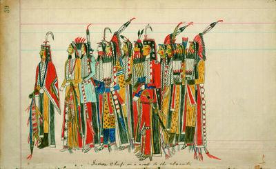Julian Scott ledger Artist B (Ka'igwu [Kiowa]) Kiowa and Comanche Indian Reservation, 'Twelve High-Ranking Kiowa Men', ca. 1880