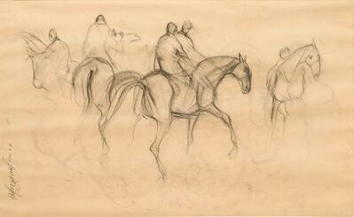 "Sunil Das, 'Early Horses X, Charcoal Drawing, Brown, Black by Padmashree Awardee Artist ""In Stock""', 1959"