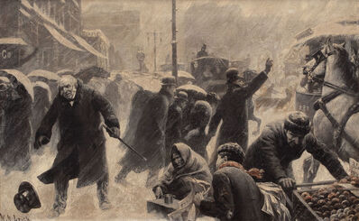 William Robinson Leigh, 'New York Street Scene, Collier's Weekly Magazine Story', 1898