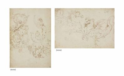 Girolamo da Carpi, 'Studies of grotesques (recto), studies of two winged horses (verso)'