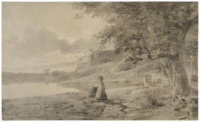 Adolphe Appian, 'Femme au Bord d'un Etang', 1865