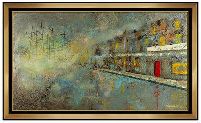 Leonardo Nierman, 'Leonardo Nierman Original Painting Oil On Board Large Signed Cityscape Artwork', 20th Century