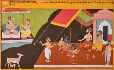 "India, Mewar, 'Illustration to Book Two (Balakanda) of the ""Tulsi"" Ramayana:  Rama and Lakshmana Studying at a Hermitage', ca. 1700-1710"
