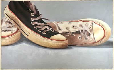 """Santiago Garcia, '""""111"""" large oil painting of black and white converse on a grey background', 2018"""