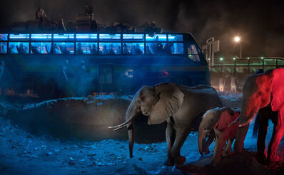 Nick Brandt, 'Bus Station with Elephants Retreating', 2018