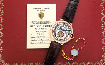 Cartier, 'A fine and attractive pink gold flying tourbillon wristwatch with guilloché dial, roman numerals, certificate and presentation box', 2010