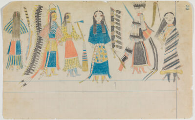 """Attributed to Arapaho Artist A, 'Ledger Drawing """"Scalp Dance""""', ca. 1880"""
